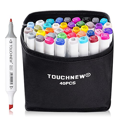 TouchNew 40 Colors Double-Ended Art Markers with Fine and Broad Tip, Perfect for Illustration, Sketch Comics, Cartooning, Anime(Product Design Selection)-Lightwish (40 Colors, White) by TouchNew