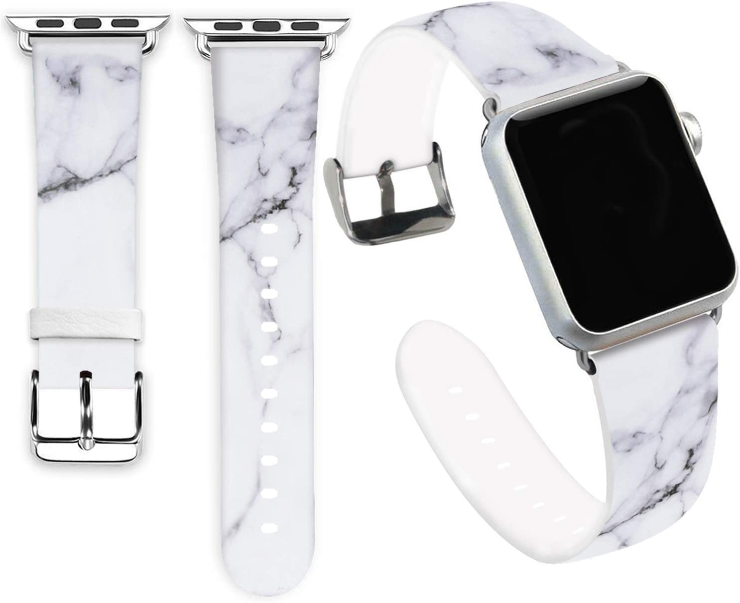 Marble Bands Compatible for iWatch 42mm 44mm,Jolook Soft Leather Sport Style Replacement Band Strap Compatible for Apple Watch 44mm 42mm Series 6/5/4/3/2/1 - Marble Band