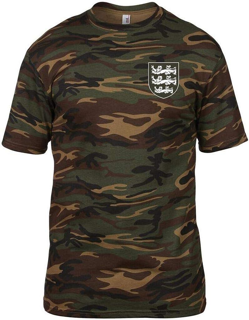3 Lions Small Crest England Cricket T-Shirt Mens CAMO Green