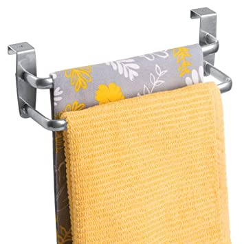mDesign Toallero sin taladro con dos barras - Ideal para paños de cocina o toallas –