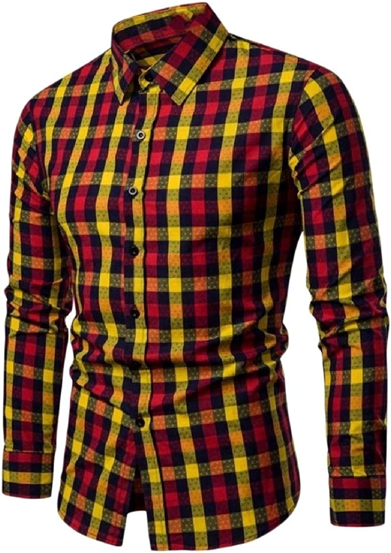 YUNY Mens Classic Printed Windowpane Tops Comfortable Sport Shirt Yellow L