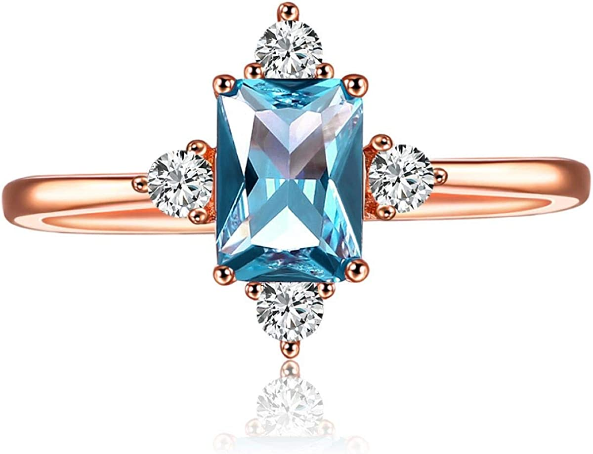 LAZLUVU Blue Topaz Rings, Rose Gold White Gold Engagement Promise Cubic Zirconia Rings Size 5-10 for Womens Mom Jewelry