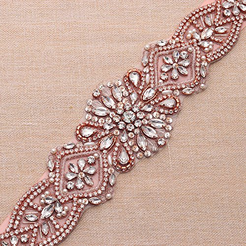 Yanstar Handmade Rose Gold Rhinestone Crystal Wedding Bridal Belts Sash With Blush Ribbon Sashes for Evening Party Prom Bridesmaid Dress by yanstar (Image #2)