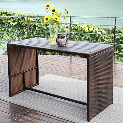 Wisteria Lane Outdoor Patio Bar Stool Set,5 Piece Dining Table Set Wooden Table Chairs Sectional Furniture Conversation Set Cushioned Garden Lawn Bar Furniture,Brown
