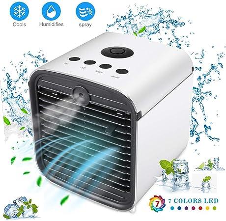 Aire Acondicionado, Mini 3 en 1 Personal Enfriador de Aire Purificador de Aire Humidificador y Purificador, USB Ventilador Escritorio con 3 Velocidades y 7 Colores LED Luz de la Noche … (Blanco 5): Amazon.es: Hogar