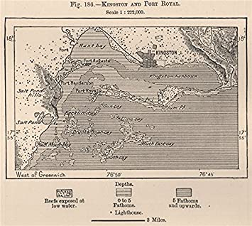 Amazoncom Kingston And Port Royal Jamaica Old Map - Vintage map of jamaica