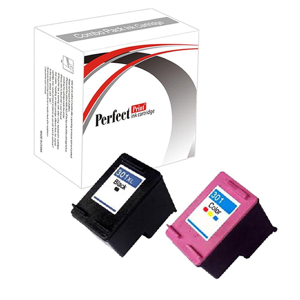 PerfectPrint - Set de 2 HP remanufacturados 301XL Negro y cartucho de tinta de color HP Deskjet 1000 Para 1050 1050A 2000 2050 2050A 2050se 2054A 3000 ...