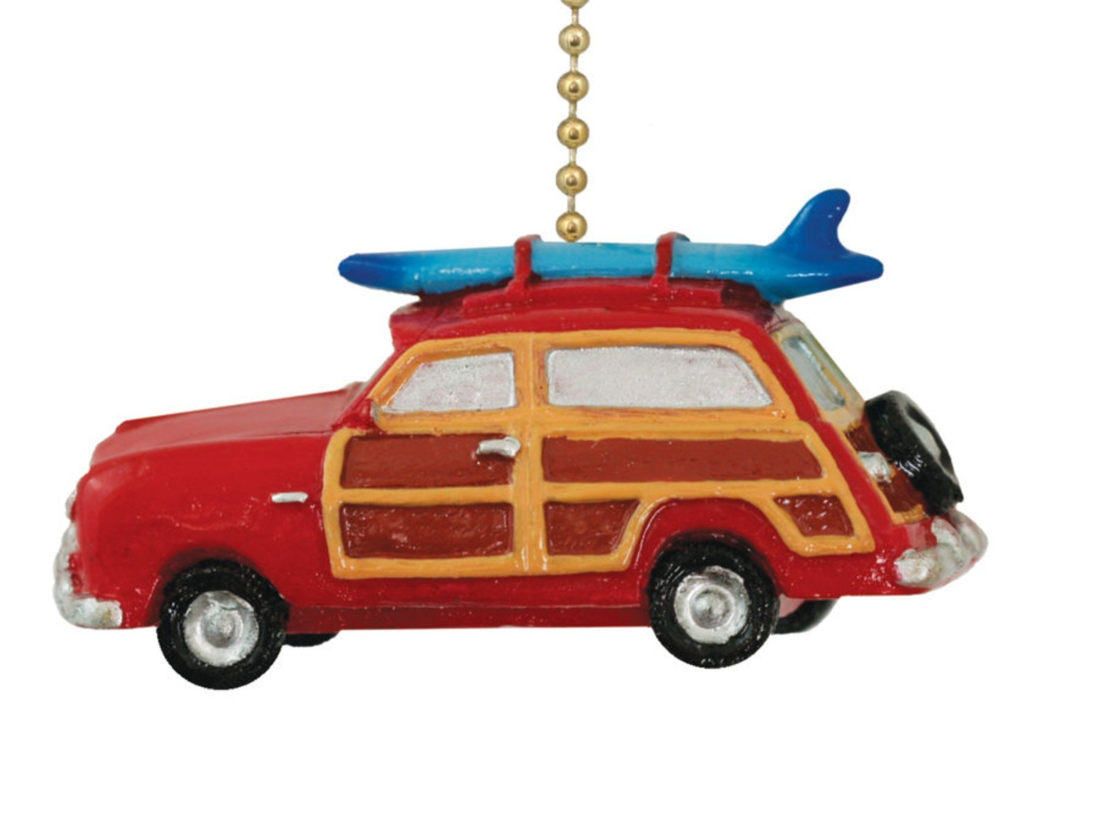 Retro ''Woody'' Red Surf Wagon Beach Surfing Ceiling Fan Pull