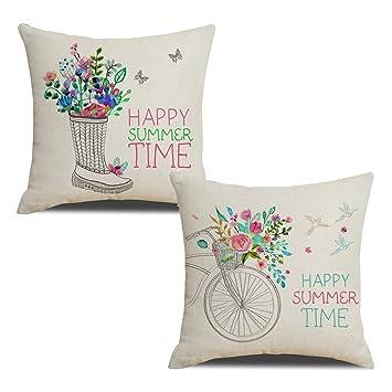 Amazon.com: Kacopol - Fundas de almohada de algodón y lino ...