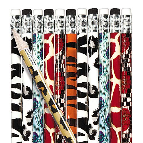Fun Express - Animal Print Pencil Assortment (144pc) - Stationery - Pencils - Pencils - Printed Assortments - 144 Pieces -