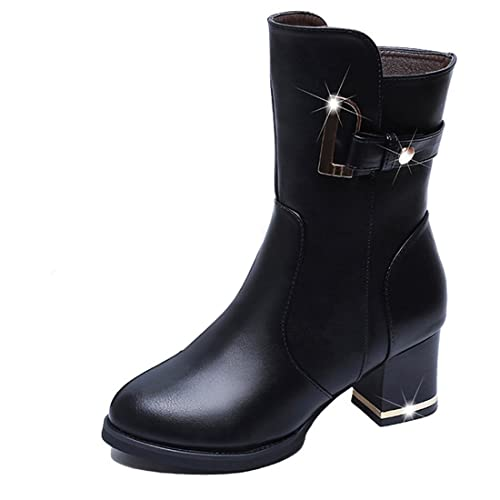Women's Buckle Mid Calf Boots Mid-Heel Fashion Boots Military Combat Boots Knight Boot Round Toe Buckle Square Footwear