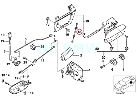 Amazon Com Bmw Genuine Rear Door Lock Bowden Cable Automotive