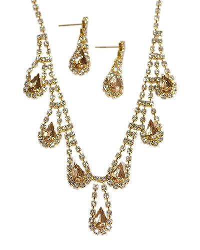 Amazon.com  Soft Gold Plated   Clear Crystal Rhinestone Necklace ... aaa0db20e1da