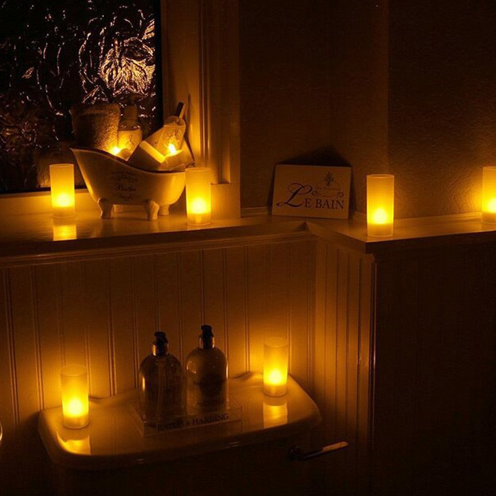 Solar Candles Flameless Rechargeable Candles LED Tea Lights Candles Battery Operated Upgraded Solar Power Waterproof Warm White Candle Set of 6 for Home Bar Bedroom Living Room Garden Outdoor Indoor by EXPOWER (Image #8)