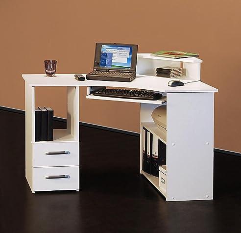 Eck computertisch weiß  4505- 115cm - Eck-Schreibtisch - Computertisch, in weiß: Amazon.de ...