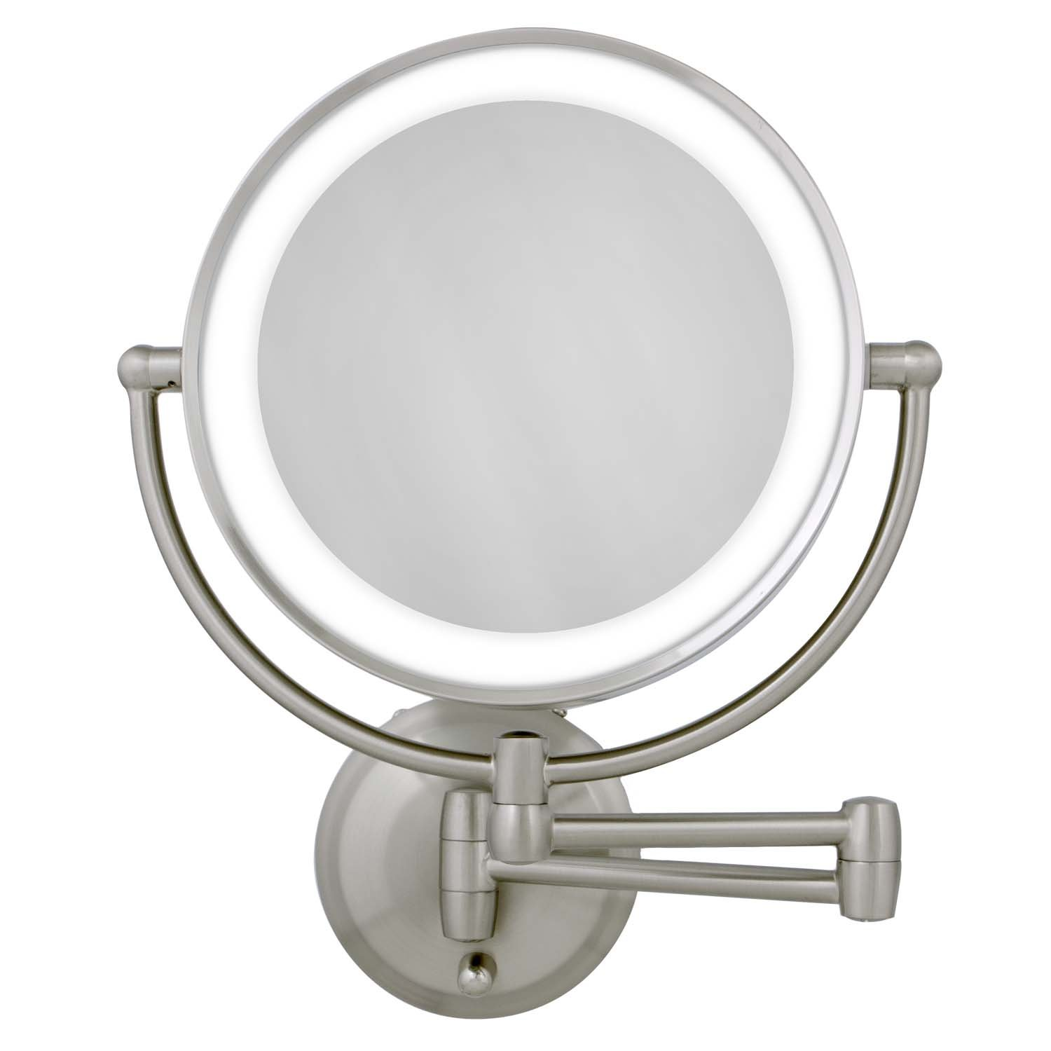 Zadro Rechargeable Dual LED Lighted Round Wall Mount Make Up Mirror with 1X & 10X magnification in Satin Nickel Finish