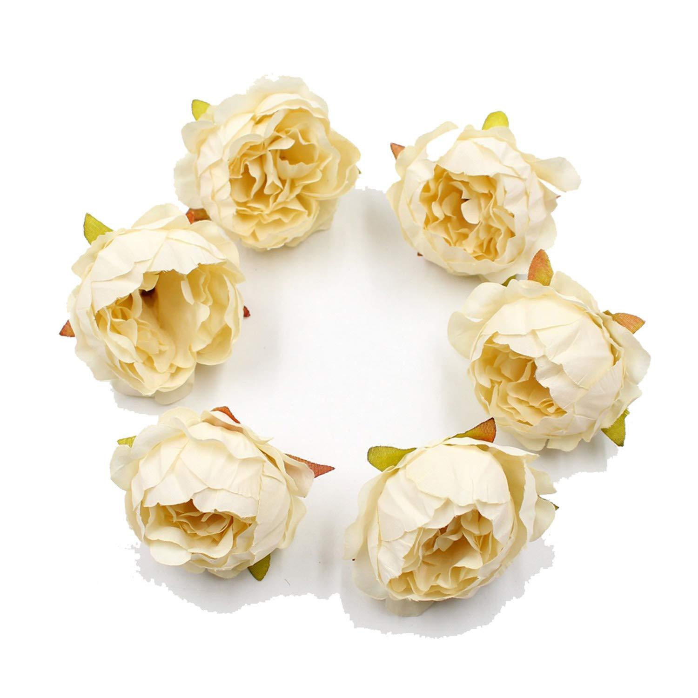 5点/ロット 5cm 牡丹の花 シルク造花 ウェディング装飾 DIY ガーランド クラフト 花 ミルキーホワイト B07PPZ71VG