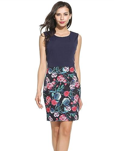 Kancystore Women's Elegant Chic Patchwork Floral Office Work Business Bodycon Dress