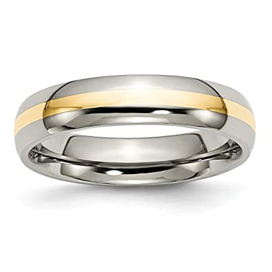 Bridal & Wedding Party Jewelry Engagement & Wedding Titanium 14k Yellow Inlay Flat 8mm Wedding Ring Band Size 8.50 Precious Metal 100% High Quality Materials