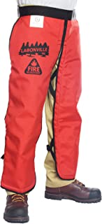 "product image for LABONVILLE Fire Resistant Chainsaw Chaps - Overall Length 40"" - Made in USA - Orange"