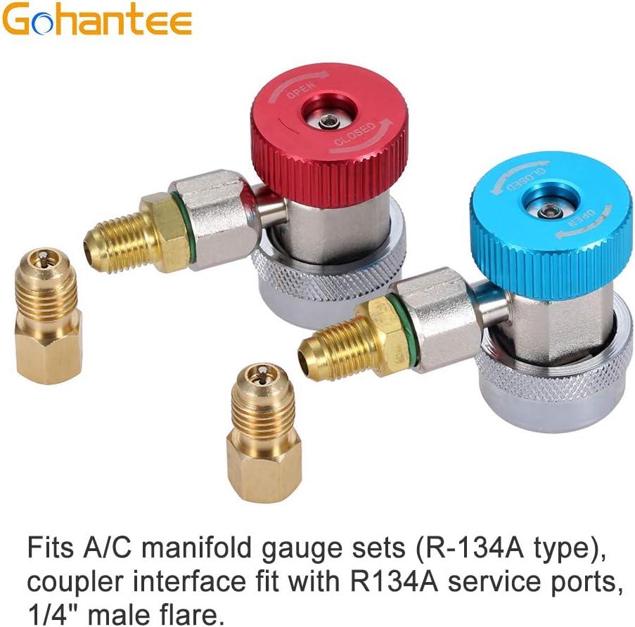 Adaptador AC R134A 2 piezas adaptadores de acoplador r/ápido ajustables