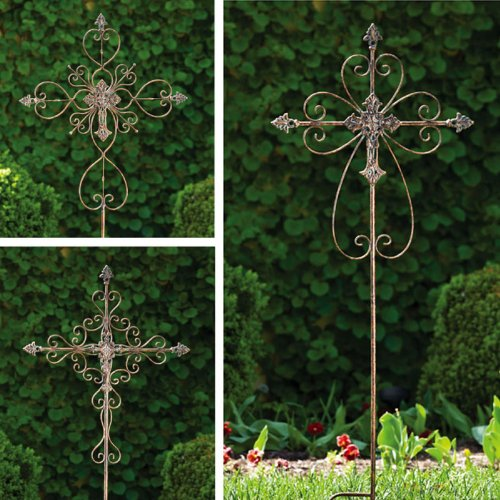 3 Piece Ornate Cross Garden Stake Set by Evergreen Enterprises, Inc