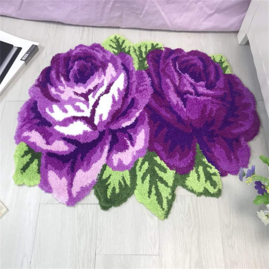 Rose Floor Mat Fashion Decorative Carpet Polyester Line Mixed Embroidery Home Floor Mat