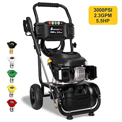 Power Washing Machine >> Surmountway Gas Pressure Washer Power Washer 3000 Psi Car Washing Machine 5 5hp Pump 2 3gpm High Pressure Hose 5 Nozzles Detergent Tank