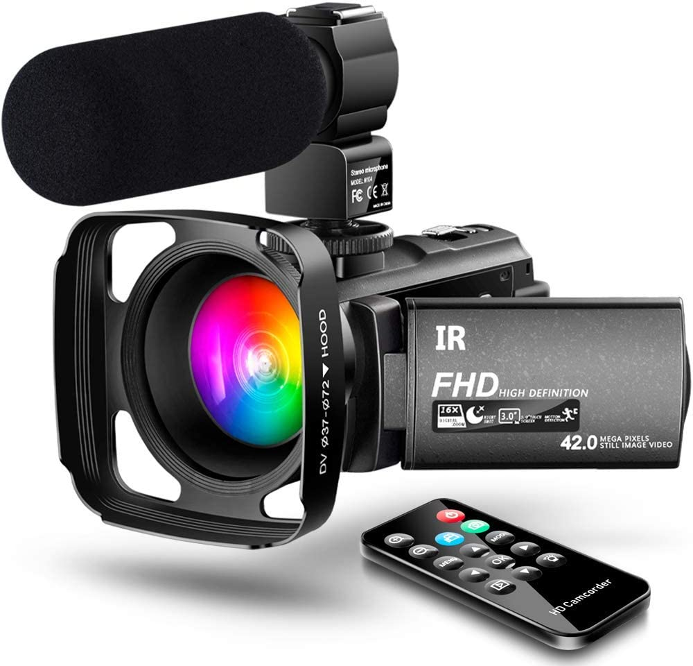 【New Upgrade】 Ultra HD Video Camera Camcorder 1080P 42M Vlogging Camera YouTube Digital Recorder Camera IR Night Vision IPS Touch Screen with Microphone Remote Control, Lens Hood, Battery Charger 61Bi3U8Hj8LSL1000_