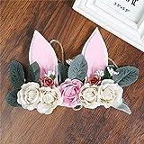 Carto Girl Rabbit Ears Rose Peony Wreath Grass Rope Braided Hair Band Crown Artificial Flower Head Flower Head Flower Decoration A