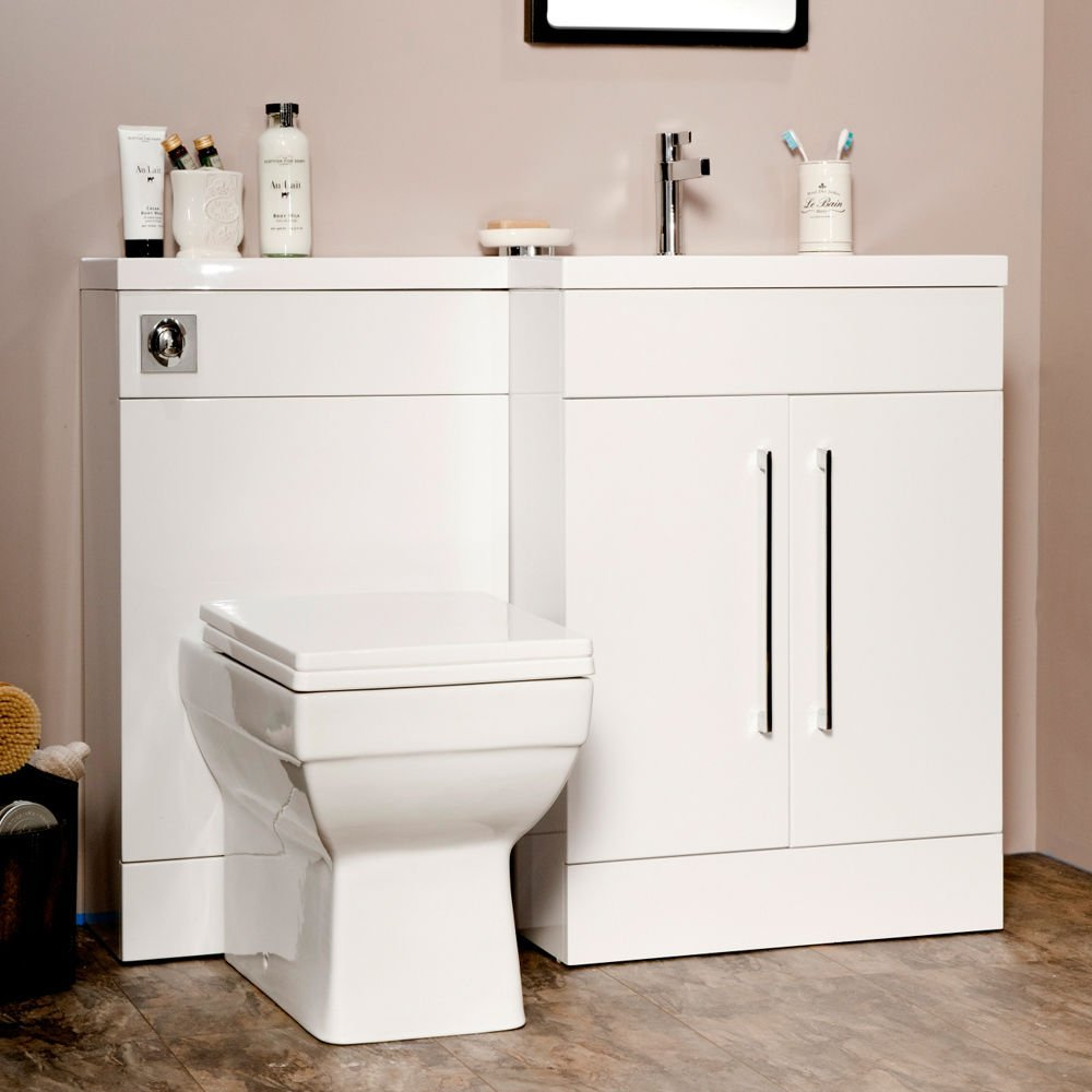 Manhattan 1095mm White Gloss L Shape Bathroombination Furniture Package  (right Hand): Amazon: Kitchen & Home