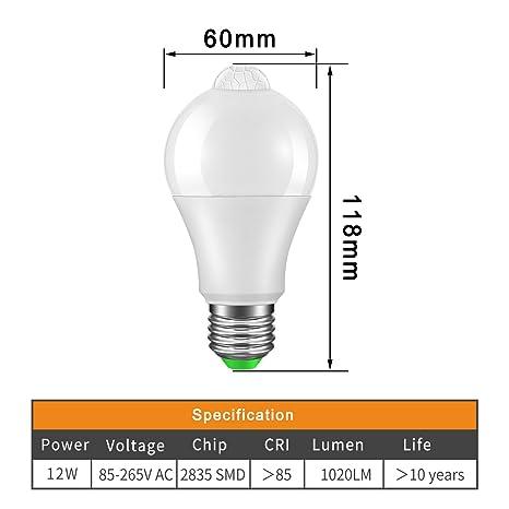 Luz del Sensor de la Bombilla LED E27, PIR Sensor AC 85-265V 12W