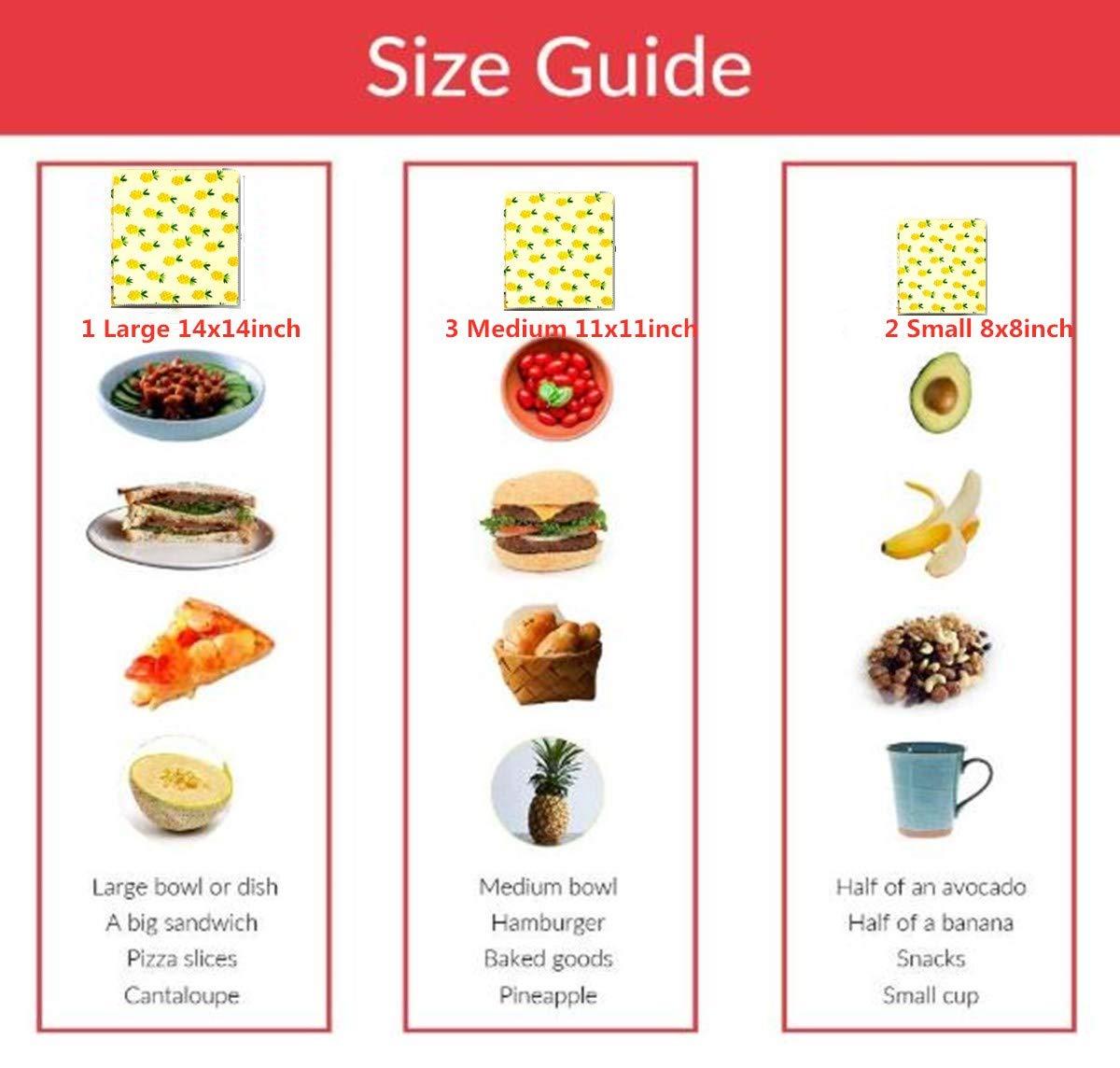 Beeswax Warp Wachspapier, 6er Set Wiederverwendbare Bienenwachstücher Bio Bienenwachs Lebensmittelverpackung Verschiedene Größe für Obst, Gemüse und Brot waschbare
