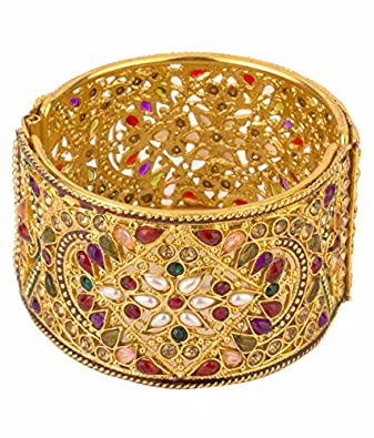 Bridal & Wedding Party Jewelry Cheap Sale Ethnic Indian Jewelry Wedding Gold Plated Ad Bangle Bracelet Kara Women New Be Friendly In Use