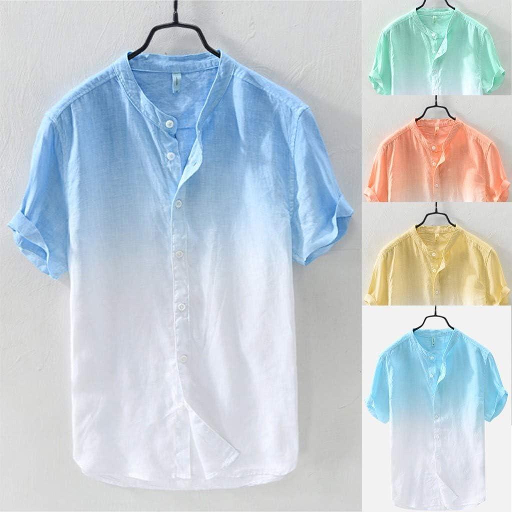 Mens Shirts Summer Graphic Gradient Lightweight Henley T-Shirts Short Sleeve Button-Down Tops