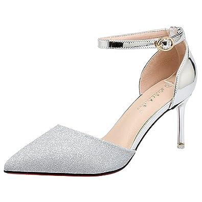 5176d86f5467c0 wealsex Escarpin Sandale Paillette Talon Doré Moyen Confort Bout Pointu  Bout Fermé Bride Cheville Chaussure Sexy