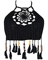 Women's Hollow Out Crochet Knit Halter Flower Tassel Bikini Tops Crop Tank Cami