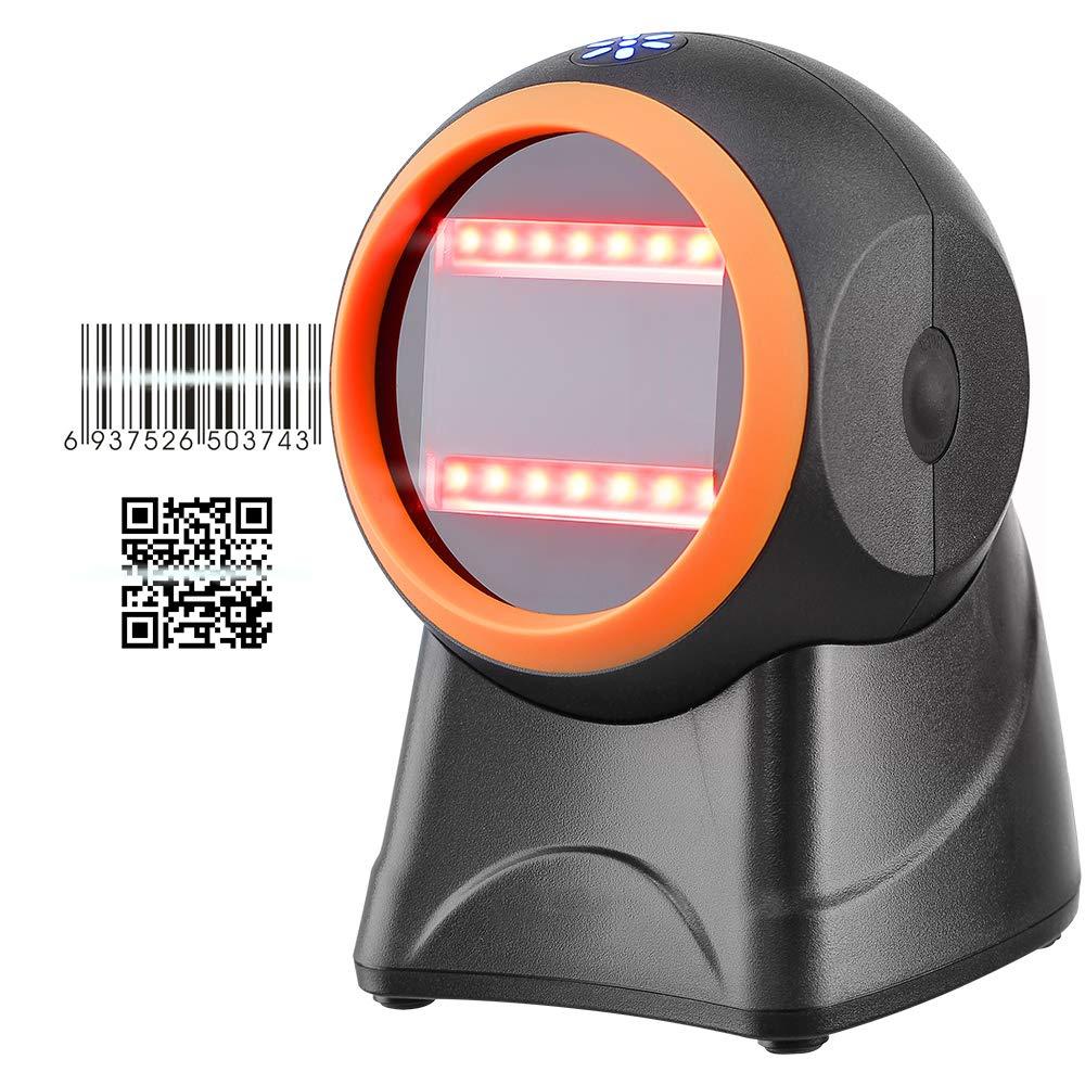 MUNBYN 1D 2D QR Presentation Scanner USB Barcode Scanner Omnidirectional Hands-Free Wired Barcode Reader for Mobile Payment Computer Screen Scan Support Securpharm Code(Data Matrix)