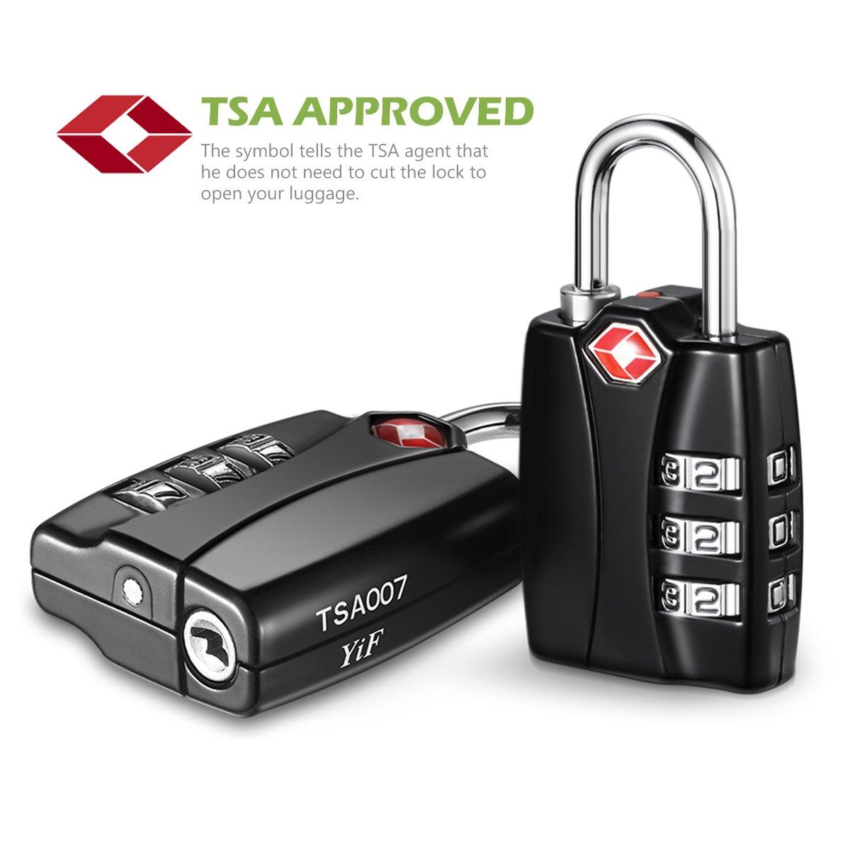 KeeKit Combination Locks, TSA Approved Luggage Locks with Open Alert Indicator, TSA Luggage Locks for Travel, Suitcase, Baggage & Backpack, Gym Locker (Black, 2 Pack) by KeeKit (Image #2)
