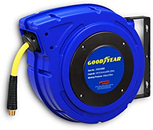 """Goodyear Retractable Air Compressor/Water Hose Reel, Max. 300PSI (3/8"""" x 65 FT) Hybrid Polymer Hose"""