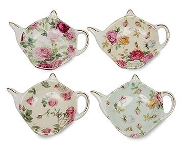 Gracie China Rose Chintz 4-Inch Tea Bag Holder, Set of 4