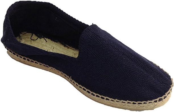 Alpargatas de Esparto Tela de Espiga y Suela de Goma por Debajo Made in Spain en Azul Marino (Necesario Talla Extra): Amazon.es: Zapatos y complementos