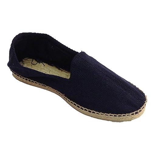 Alpargatas de esparto tela de espiga y suela de goma por debajo Made in Spain en azul marino: Amazon.es: Zapatos y complementos
