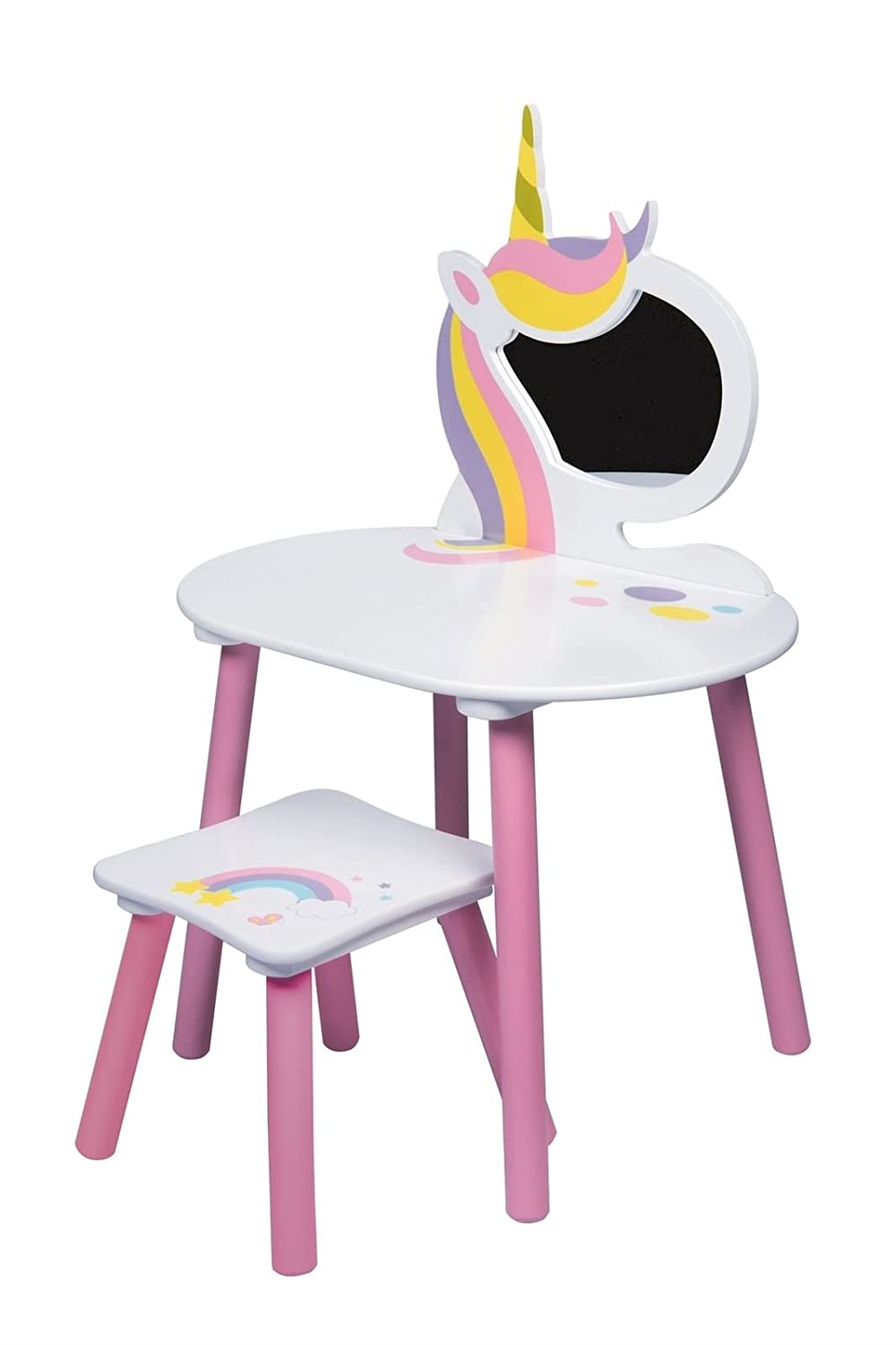 Coiffeuse Licorne, Blanc/Rose, 59 x 39 x 83 cm Global Industry 47781-S