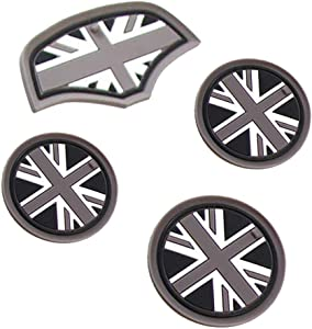 Soft Silicone Black & Gray Union Jack UK Flag Style Front Cup Holders 4PCS Coasters and Storage Box Mat for Mini Cooper F55 F56