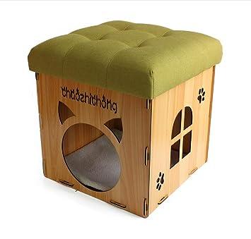 Grano de madera Inicio Tomar un taburete Casa de gatos y perros Se puede acomodar Multifunción Silla de taburete creativa Casa de mascotas , 2: Amazon.es: ...