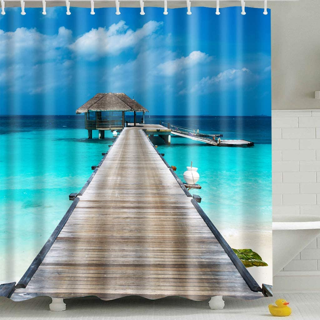 Shower Curtain 130GSM Thickened Fabric with Leaded Rope at The Bottom Waterproof 72x72 Inches