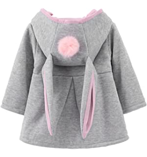 Baby Girls Toddler Mini Kids Fall Winter Coat Jacket Outerwear with Big Rabbit Ears Hoodie