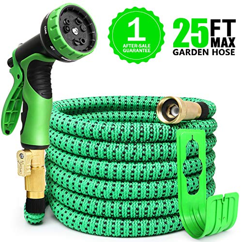 EASYHOSE 25ft Garden Hose Upgraded Expandable Hose, Lightweight Expanding Hose with 9 Function Spray Hose Nozzle, Extra Strength Fabric/Durable Flexible Water Hose