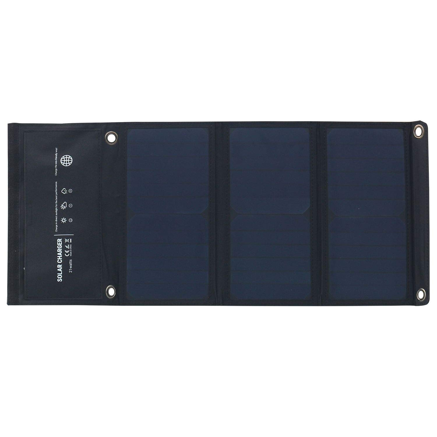 SODIAL 5V 21W Waterproof Solar Powered Charger Foldable Outdoor Solar Charger Dual USB Ports for iPhone 8/X/7/6s, iPad Pro/Air 2/Mini, Galaxy S8/S7/S6, LG, Nexus and More